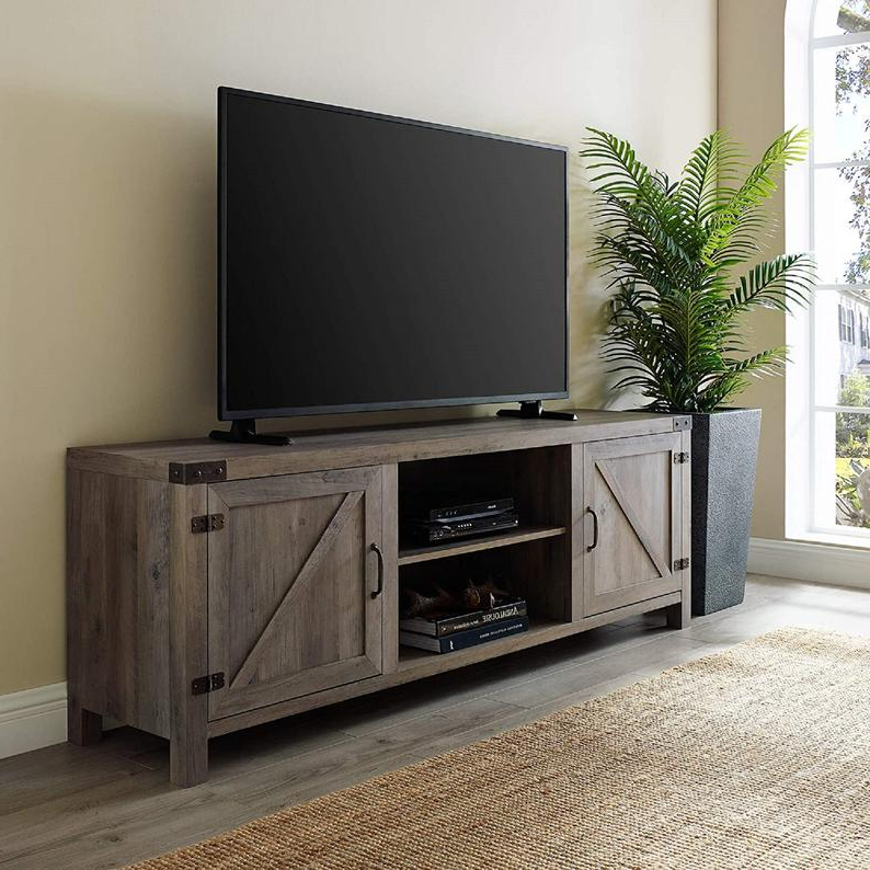 Modern Farmhouse Barn Wood Stand With Cabinet Doors Tv's Throughout Woven Paths Franklin Grooved Two Door Tv Stands (View 5 of 20)