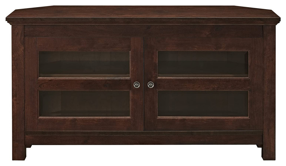 """Modern Farmhouse Corner Tv Stand, 2 Doors With Glass In Basie 2 Door Corner Tv Stands For Tvs Up To 55"""" (View 6 of 20)"""
