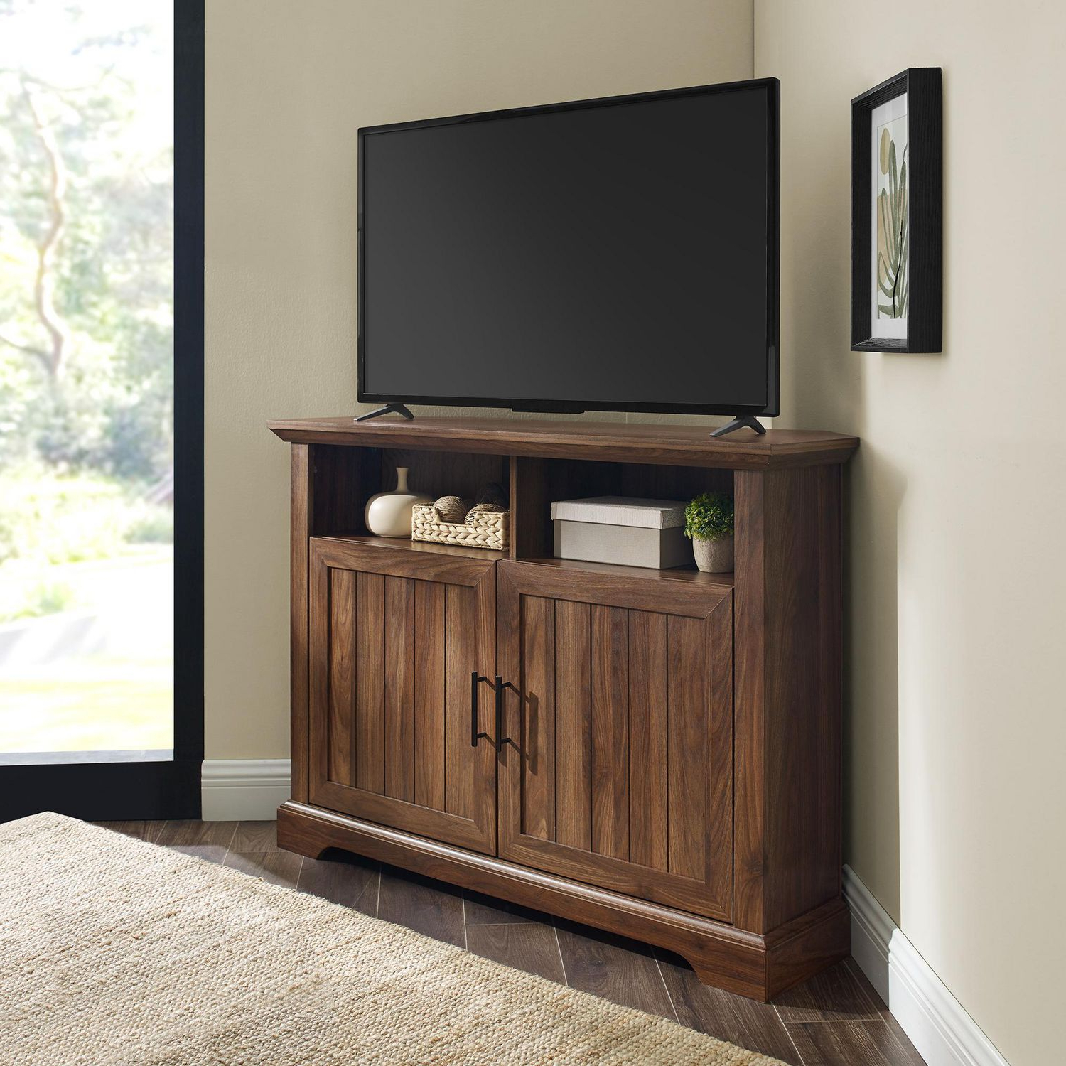 """Modern Farmhouse Grooved Door Corner Tv Console For Tv's Inside Lionel Corner Tv Stands For Tvs Up To 48"""" (View 4 of 20)"""