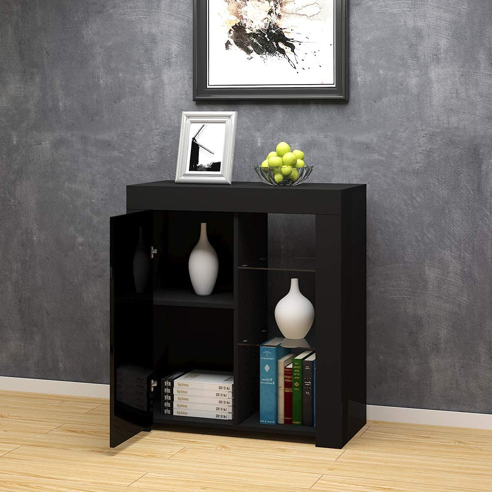 Modern High Gloss Sideboard Storage Cabinet Cupboards Throughout 57'' Led Tv Stands With Rgb Led Light And Glass Shelves (View 8 of 20)