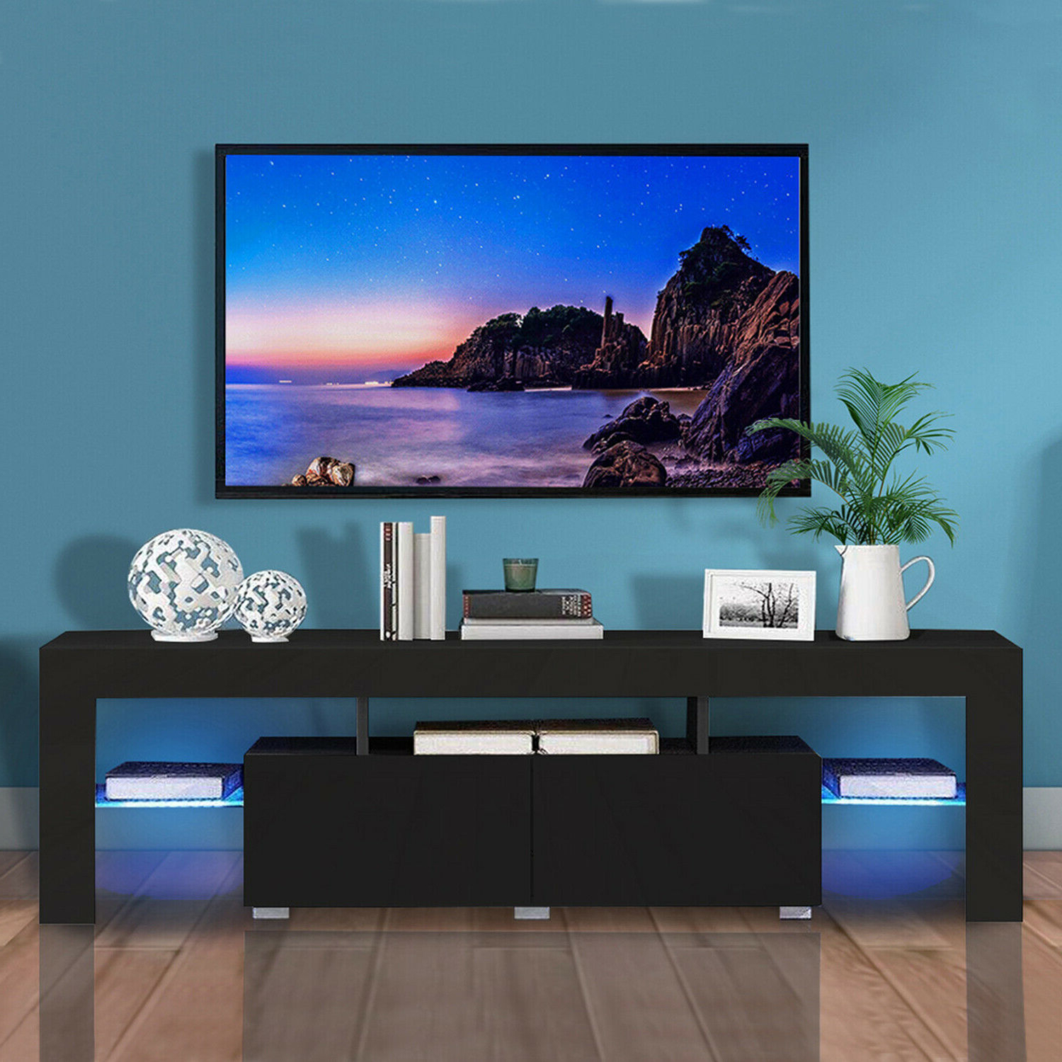 Modern Led Tv Stand Cabinet Unit Media Storage Console Intended For Ktaxon Modern High Gloss Tv Stands With Led Drawer And Shelves (View 6 of 20)