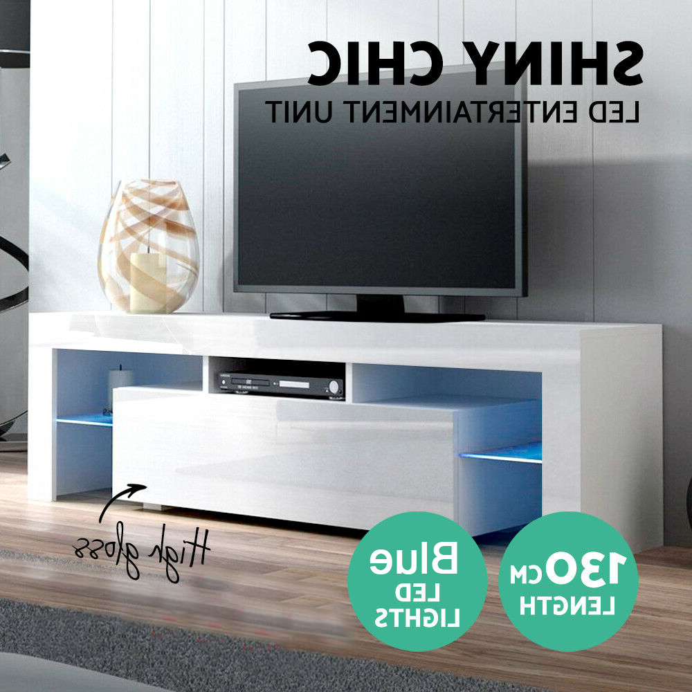 Modern Matt White/black & High Gloss Tv Unit 130cm Stand In 57'' Led Tv Stands With Rgb Led Light And Glass Shelves (View 11 of 20)