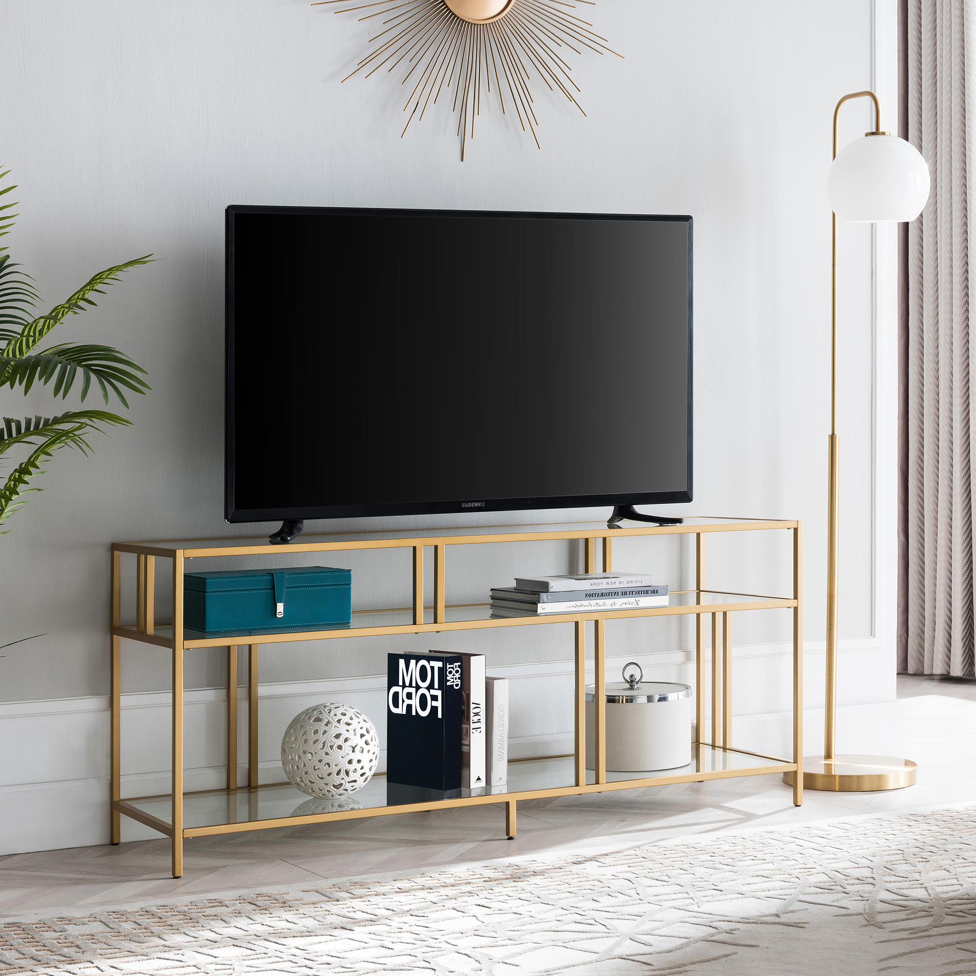 """Modern Metal Tv Stand For Tvs Up To 55"""", Industrial Media For Tabletop Tv Stands Base With Black Metal Tv Mount (View 6 of 20)"""