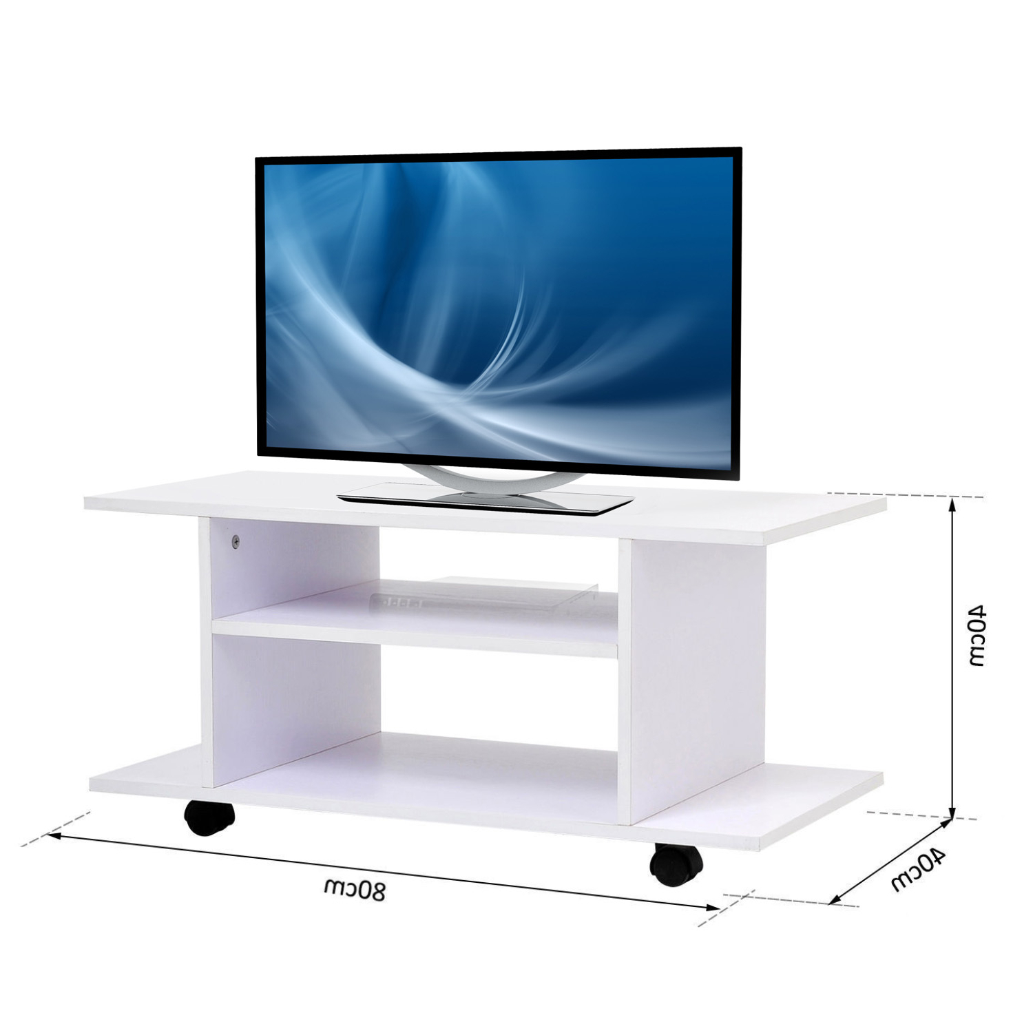 Modern Tv Cabinet Stand 3 Tier Shelf Storage Shelves Table With Regard To Modern Black Tv Stands On Wheels (View 14 of 20)