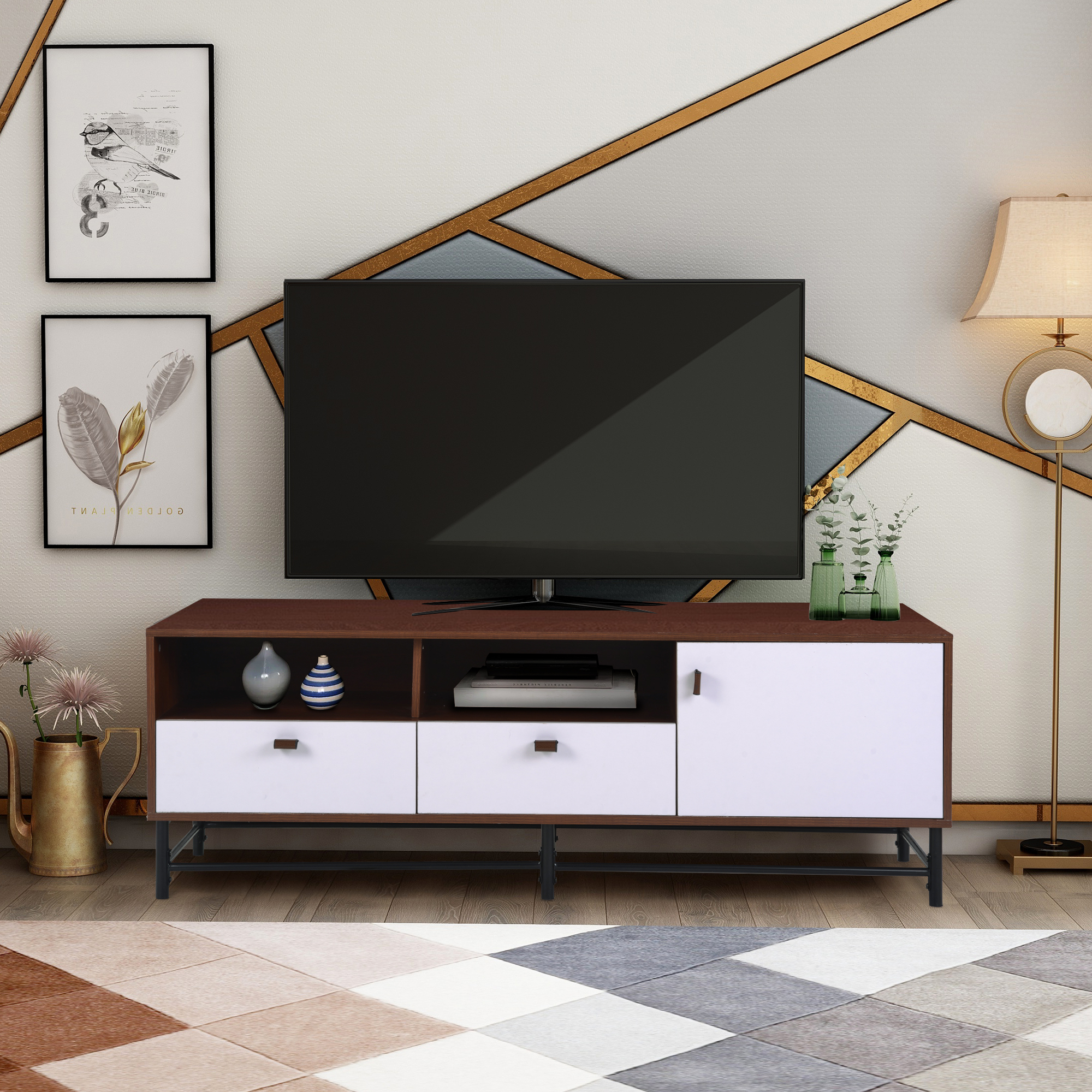 """Modern Tv Stand Cabinet, Farmhouse Tv Stand For Tvs Up To In Calea Tv Stands For Tvs Up To 65"""" (View 7 of 20)"""