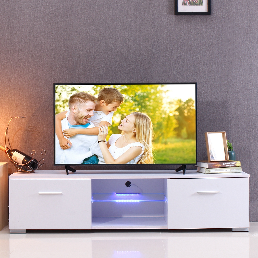 Modern Tv Stand For Tvs Up To 55'', High Gloss Tv Cabinet Throughout Ktaxon Modern High Gloss Tv Stands With Led Drawer And Shelves (View 10 of 20)