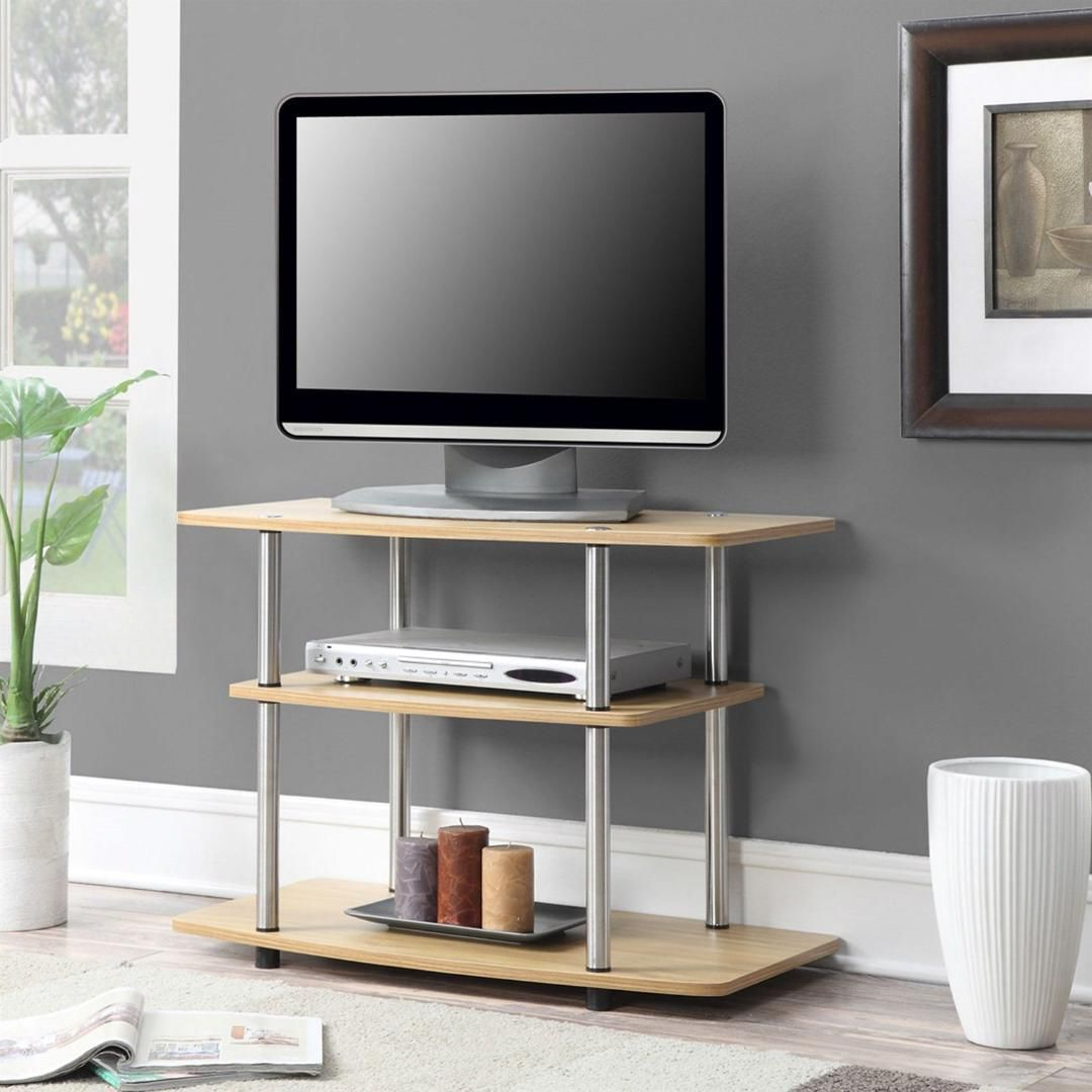 Modern Tv Stand Light Oak Wood Finish With Sturdy With Tv Stands With Led Lights In Multiple Finishes (View 13 of 20)