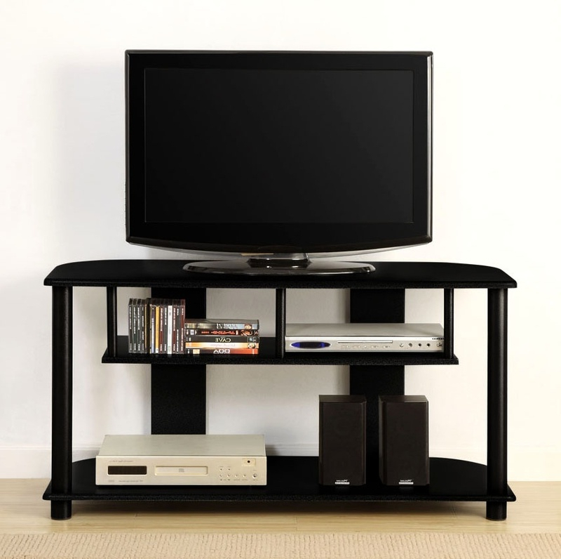 Modern Tv Stands Innovex Tv Stand W 3 Glass Shelves And Pertaining To Glass Shelf With Tv Stands (View 7 of 20)