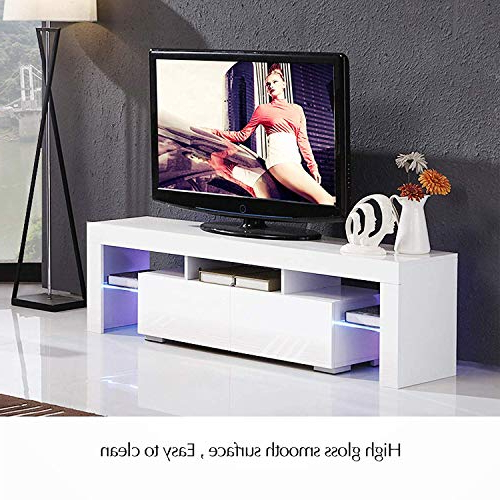 Modern White Tv Stand With Led Lights, High Gloss Tv Stand Regarding Milano White Tv Stands With Led Lights (View 17 of 20)