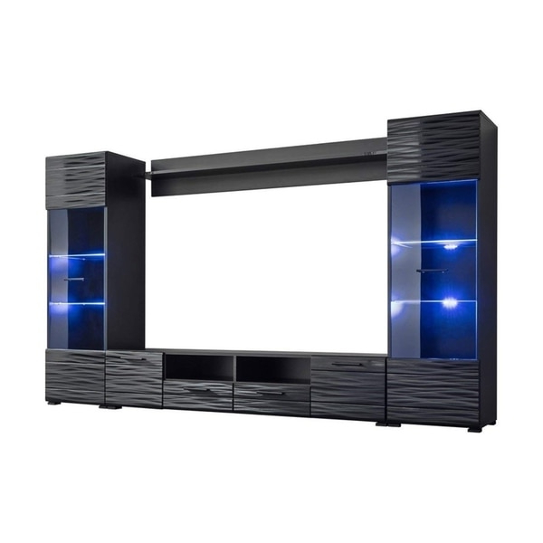 """Modica Modern Entertainment Center Tv Stand Wall Unit With Throughout Boston 01 Electric Fireplace Modern 79"""" Tv Stands (View 5 of 7)"""