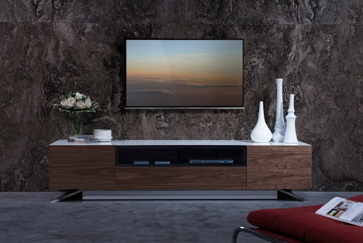 Modrest Gillian Contemporary White & Walnut Tv Stand – Tv For Hannu Tv Media Unit White Stands (View 6 of 20)