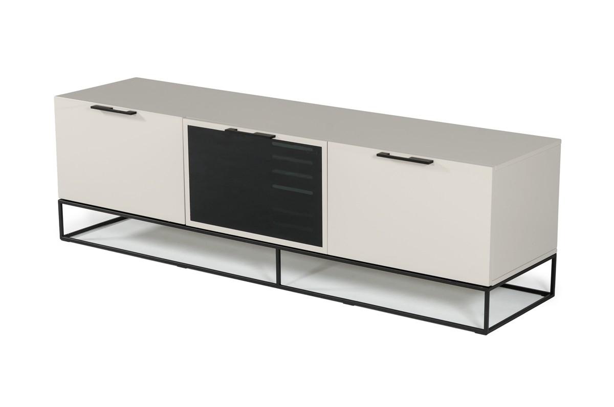 Modrest Hera Modern Grey & Black Tv Stand With Regard To Modern Black Tv Stands On Wheels (View 17 of 20)