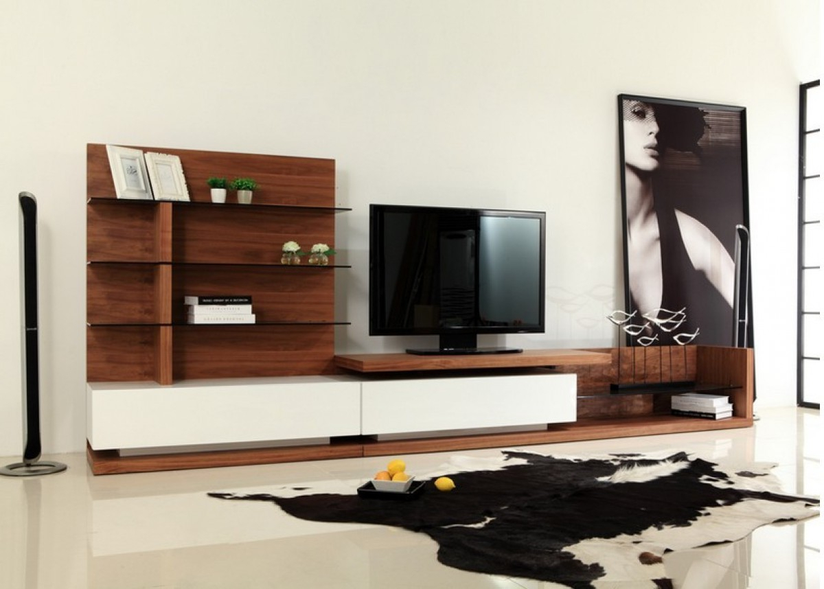 Modrest Jefferson Modern Walnut And White High Gloss Tv Within Hannu Tv Media Unit White Stands (View 2 of 20)