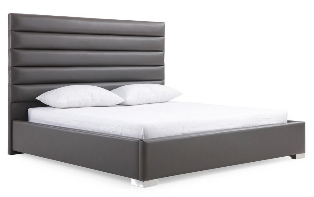 Modrest Lucy Grey Leatherette King Bed (oversized)vig For Lucy Cane Grey Wide Tv Stands (View 18 of 20)