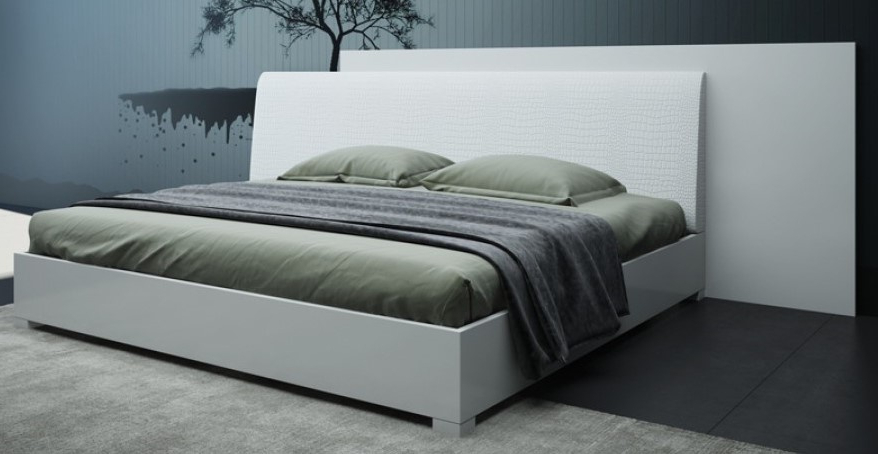 Modrest Monza White Wood Queen Bed (oversized)vig Pertaining To Monza Tv Stands (View 1 of 20)