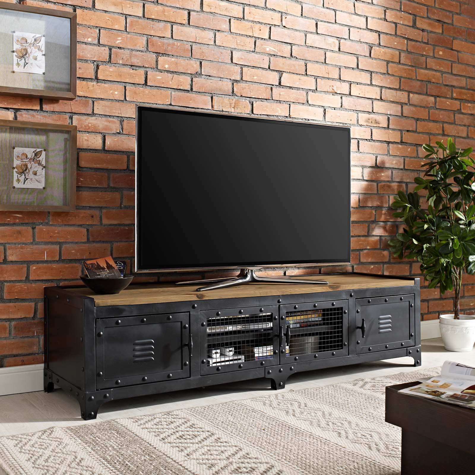 Modway Dungeon Industrial Pine Wood Tv Stand In Black Throughout Tv Stands Fwith Tv Mount Silver/black (View 3 of 20)