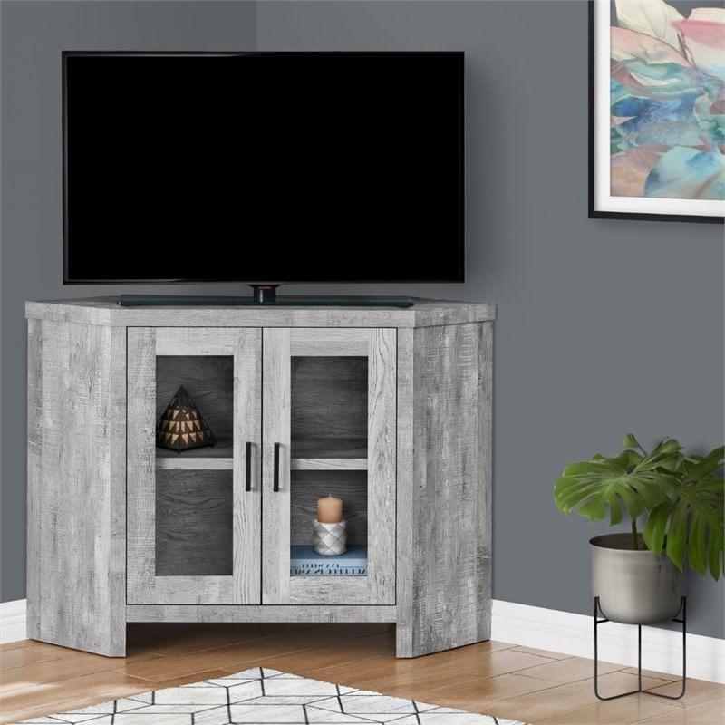 """Monarch 42"""" Contemporary Glass Door Wooden Corner Tv Stand Throughout Modern 2 Glass Door Corner Tv Stands (View 11 of 20)"""