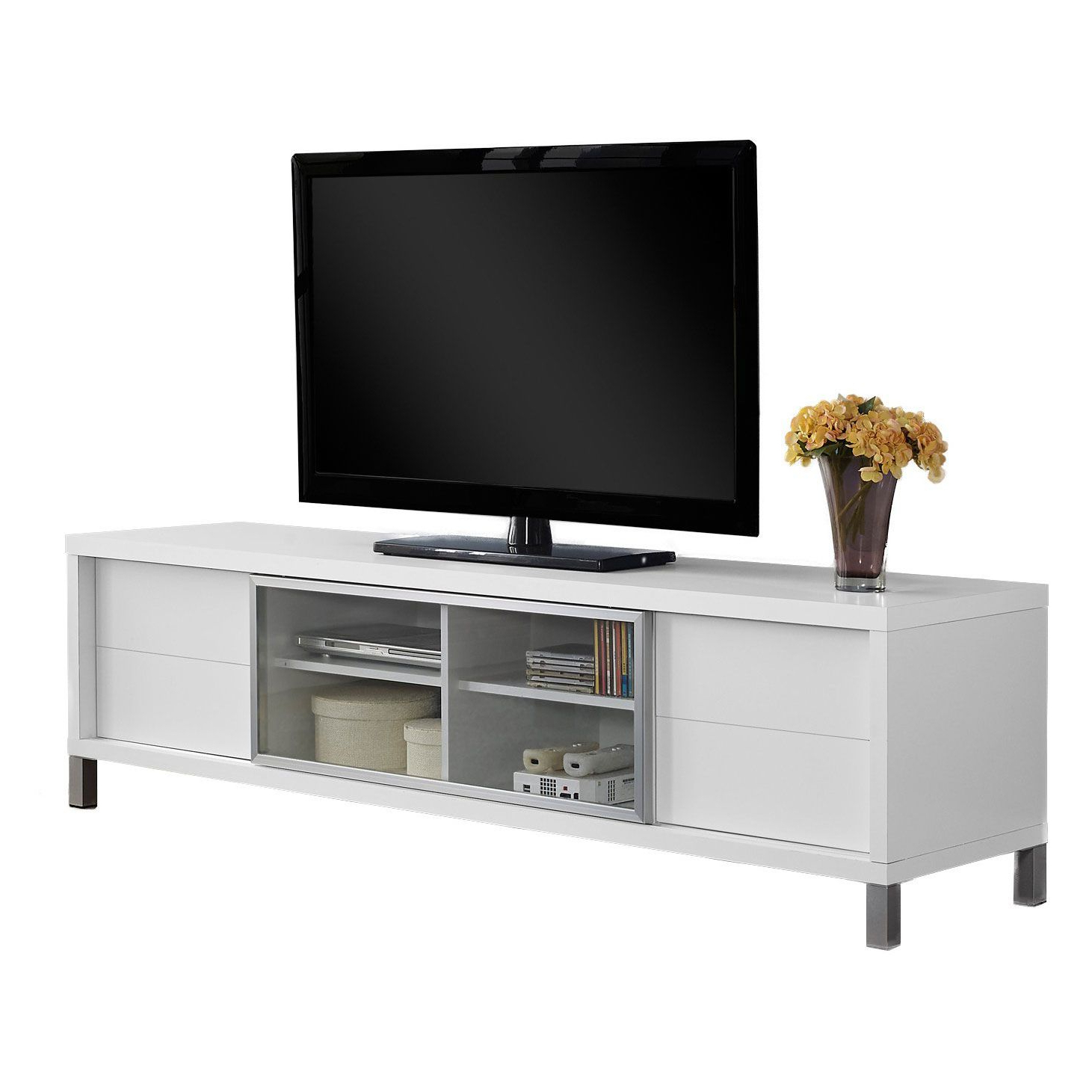 """Monarch Tv Stand White Euro Style For Tvs Up To 70""""l With Regard To Kinsella Tv Stands For Tvs Up To 70"""" (View 4 of 20)"""