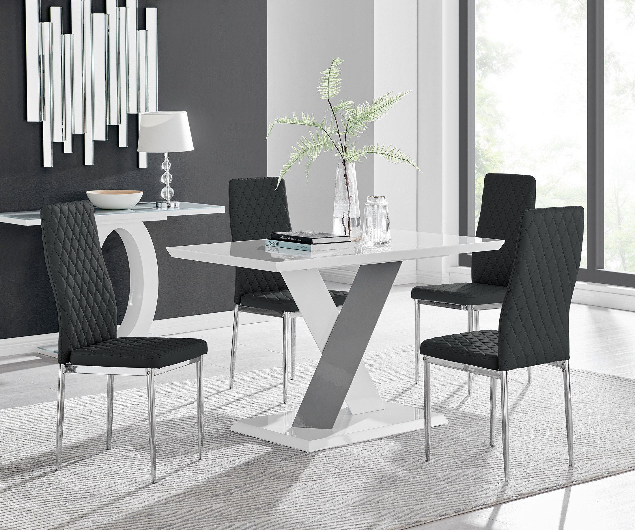 Monza 4 White/grey Dining Table & 4 Milan Chairs Intended For Monza Tv Stands (View 5 of 20)