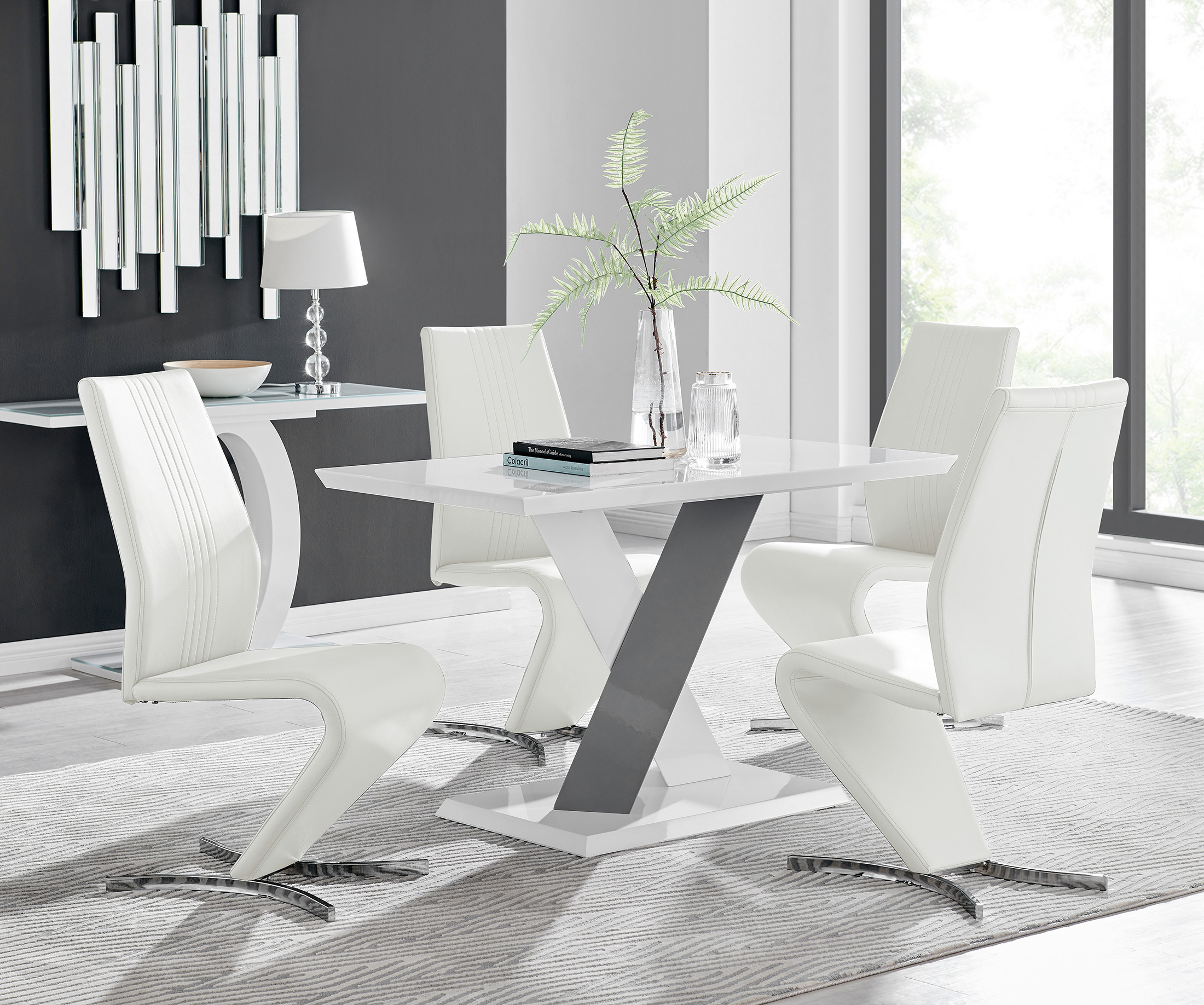 Monza 4 White/grey Dining Table & 4 Willow Chairs Intended For Monza Tv Stands (View 11 of 20)