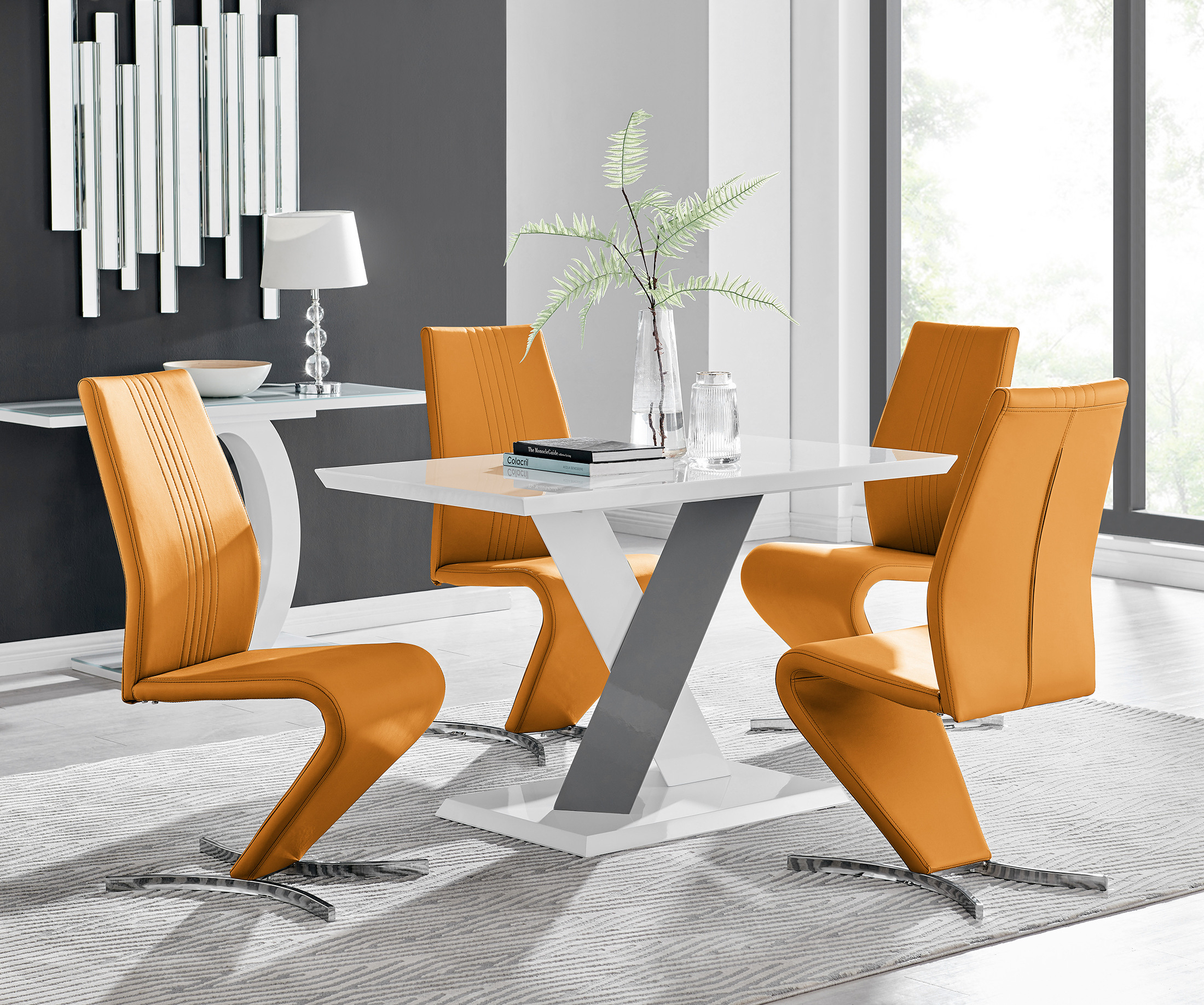 Monza 4 White/grey Dining Table & 4 Willow Chairs With Regard To Monza Tv Stands (View 9 of 20)