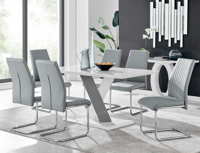 Monza 6 White/grey Dining Table & 6 Lorenzo Chairs For Monza Tv Stands (View 3 of 20)