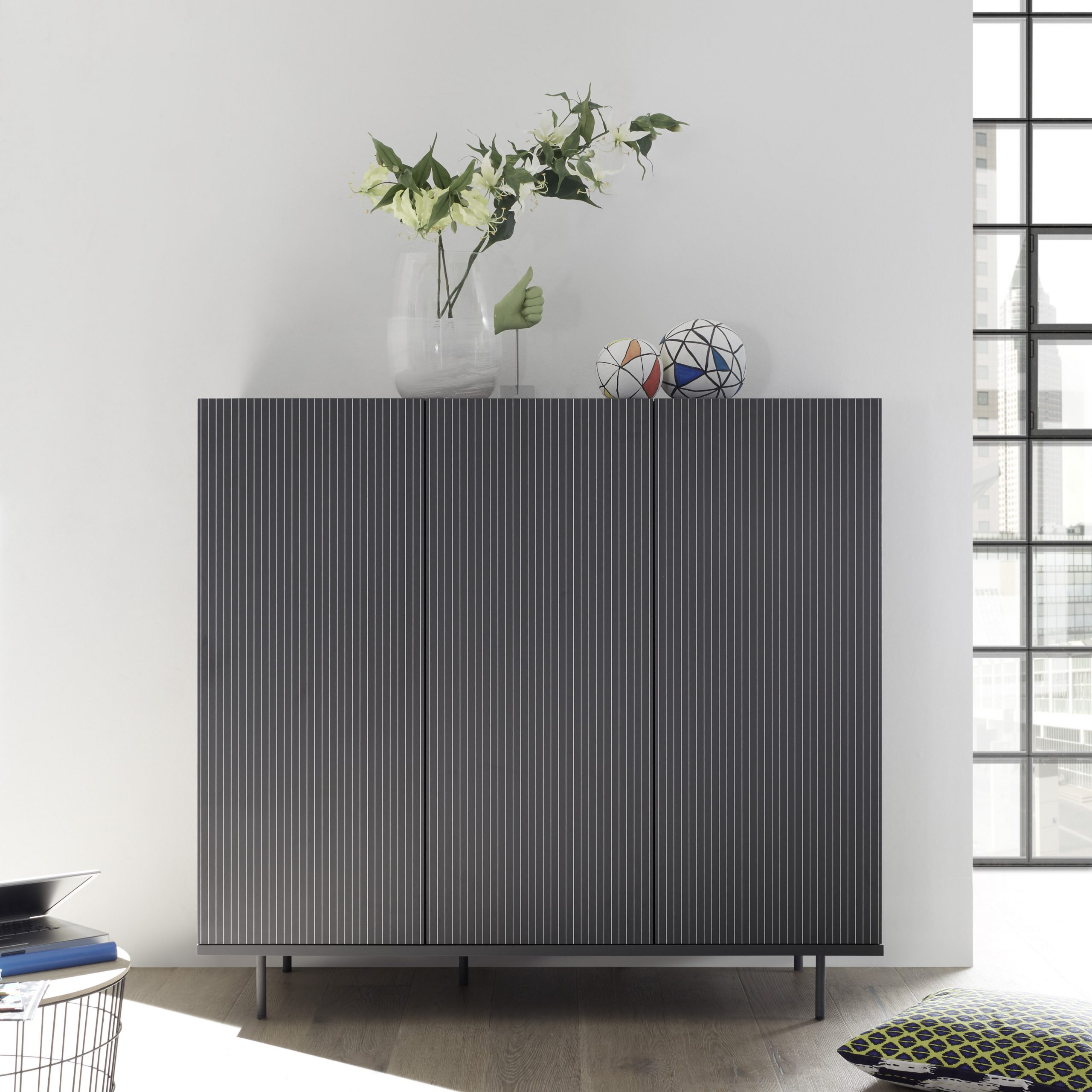 Monza Grey Highboard With Pinstripe Stencil – Furniture With Regard To Monza Tv Stands (View 7 of 20)