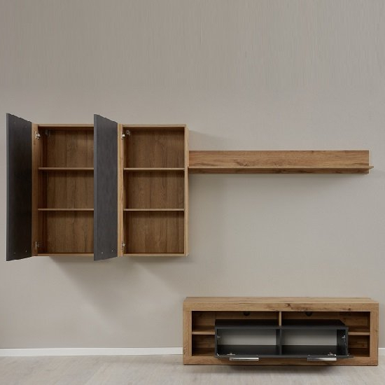 Monza Living Room Set 4 In Wotan Oak And Matera With Led Regarding Monza Tv Stands (View 18 of 20)