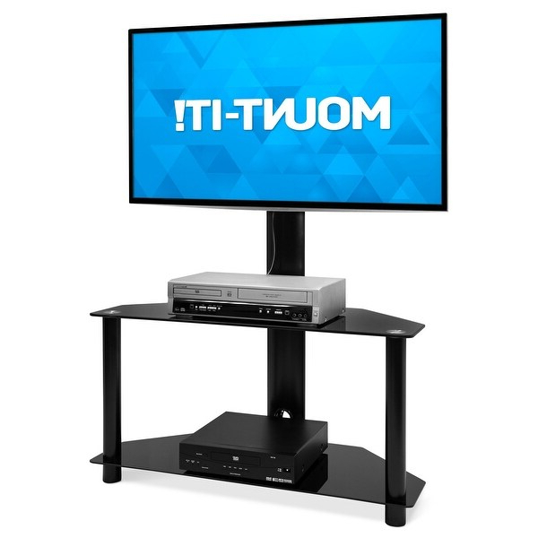 Mount It! Floor Tv Stand With Mount And Tempered Glass Throughout Floor Tv Stands With Swivel Mount And Tempered Glass Shelves For Storage (View 4 of 20)