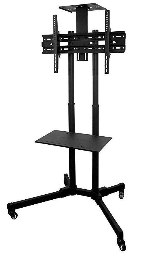 Mount It! Mi 876 Tv Cart Mobile Tv Stand Wheeled Height Pertaining To Rolling Tv Cart Mobile Tv Stands With Lockable Wheels (View 2 of 20)