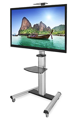 Mount It! Mobile Tv Stand For Flat Screen Televisions Regarding Easyfashion Adjustable Rolling Tv Stands For Flat Panel Tvs (View 16 of 20)