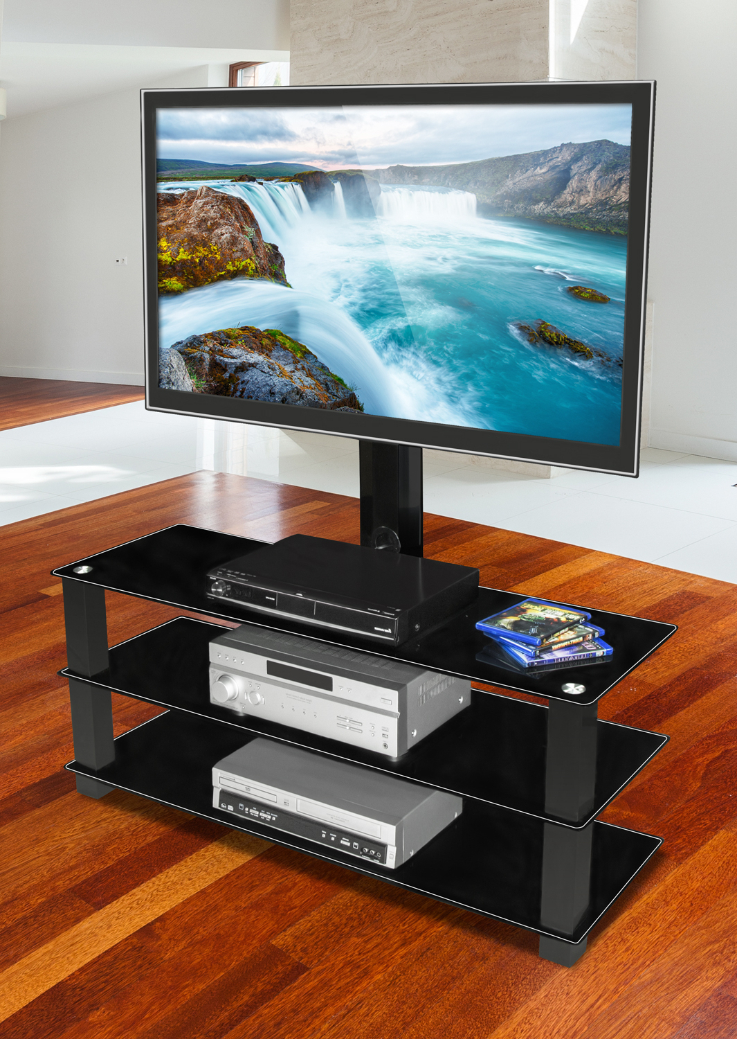 """Mount It! Tv Stand With Built In Bracket And Three Glass Intended For Glass Shelves Tv Stands For Tvs Up To 60"""" (View 5 of 20)"""