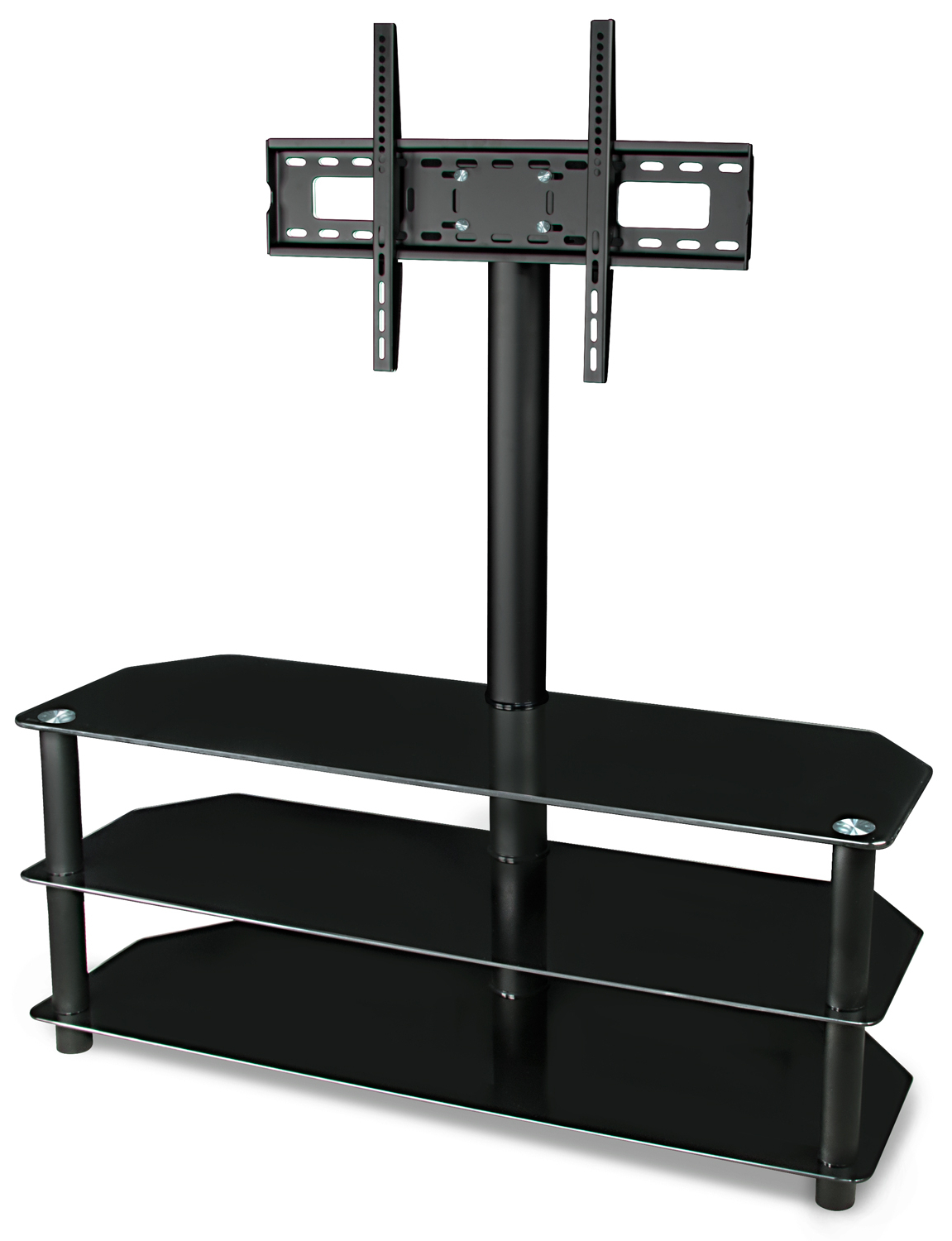 Mount It! Tv Stand With Mount And Glass Shelving | Living In Rfiver Black Tabletop Tv Stands Glass Base (View 9 of 20)