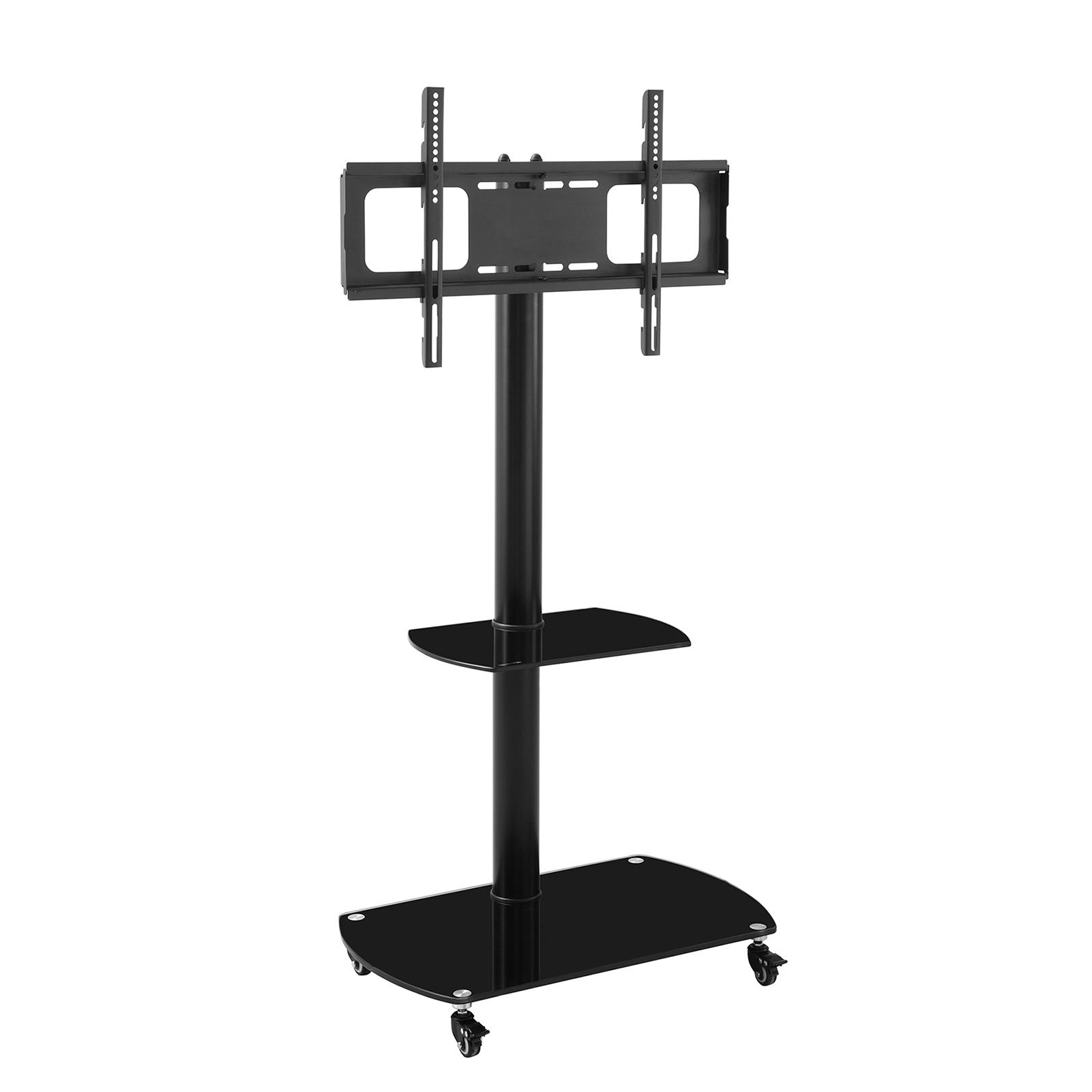 Multifunctional Tempered Glass Metal Frame Floor With Inside Rolling Tv Stands With Wheels With Adjustable Metal Shelf (View 2 of 20)