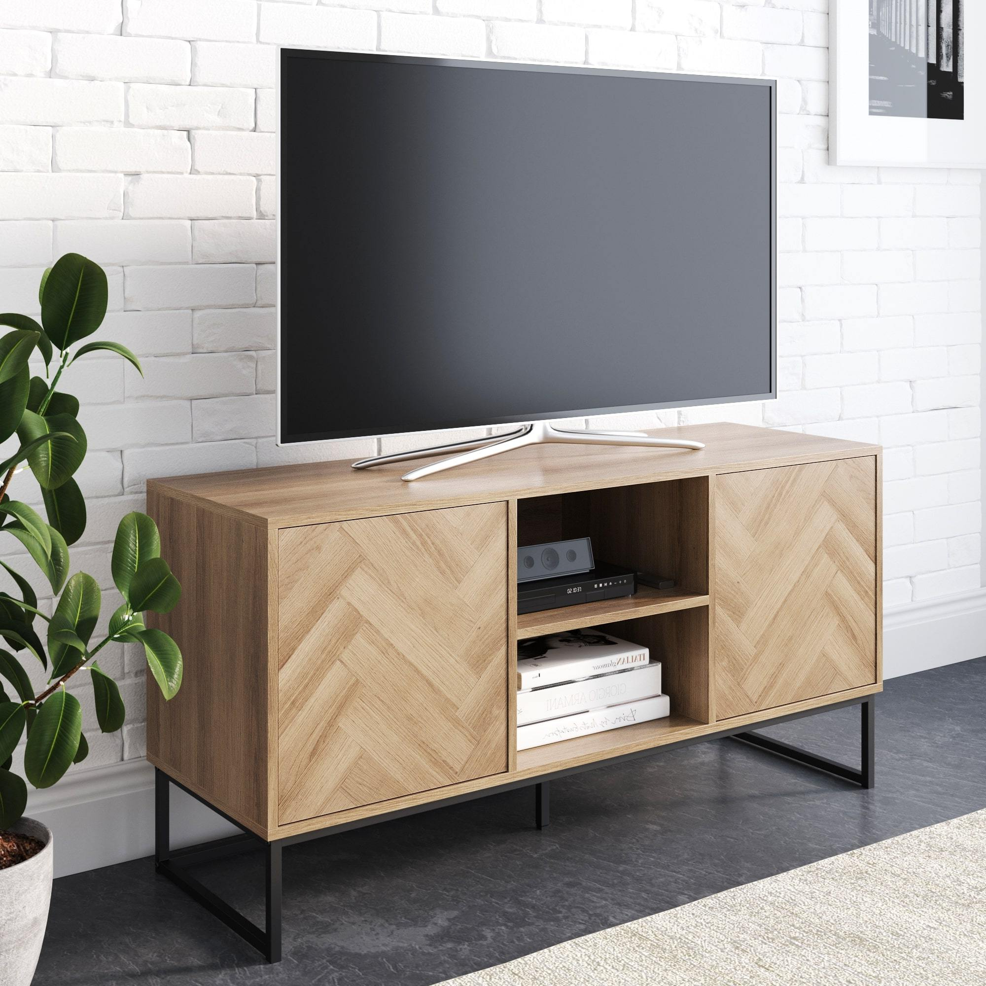 Nathan James Dylan Media Console Cabinet Tv Stand With For Tabletop Tv Stands Base With Black Metal Tv Mount (View 12 of 20)