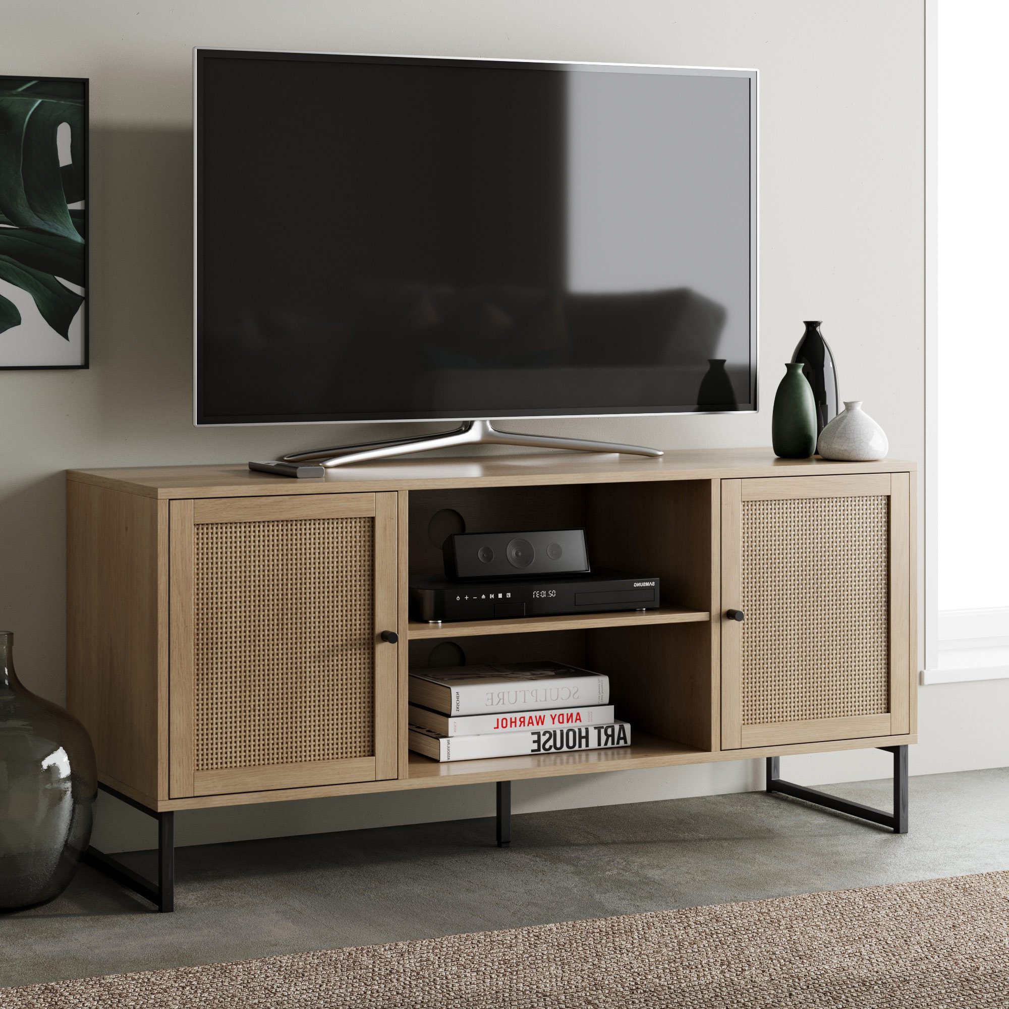 Nathan James Mina Modern Tv Stand Entertainment Cabinet With Modern Black Tv Stands On Wheels (View 9 of 20)