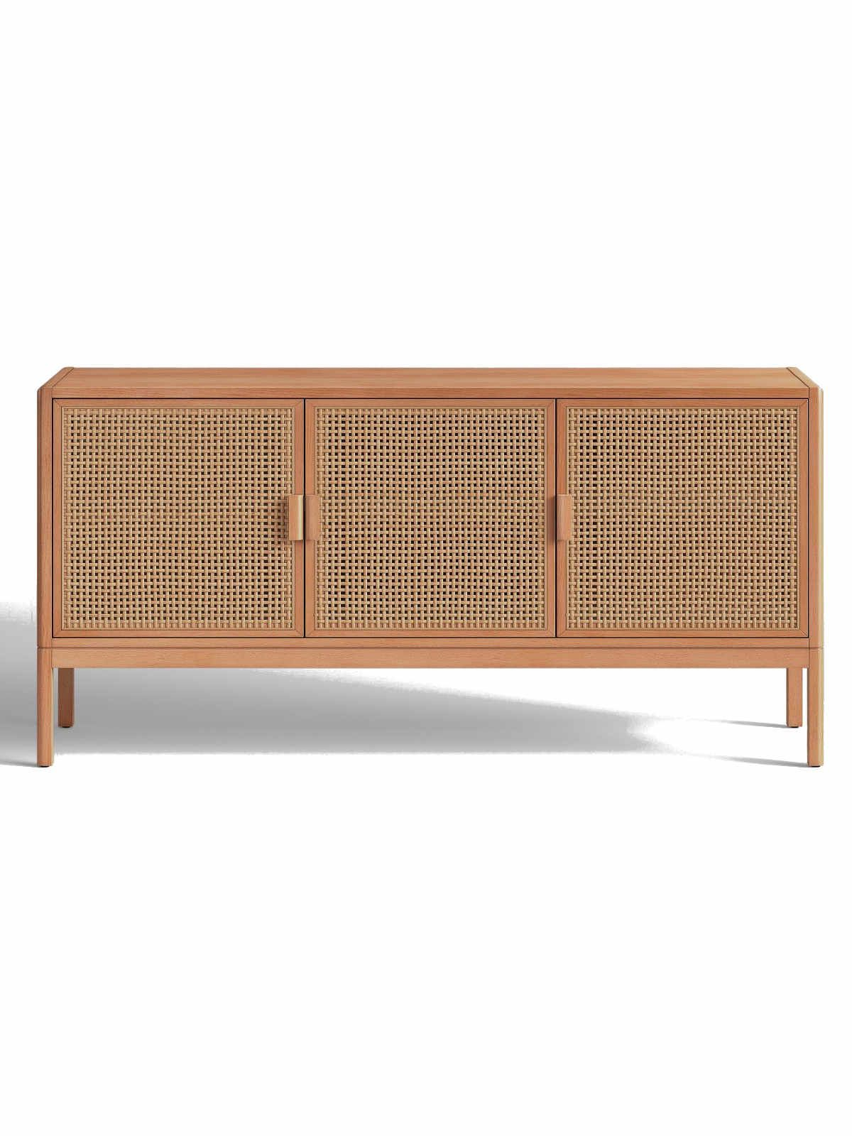 Natural Brown Opalhouse Minsmere Caned Tv Stand Natural Regarding Lucy Cane Cream Corner Tv Stands (View 18 of 20)