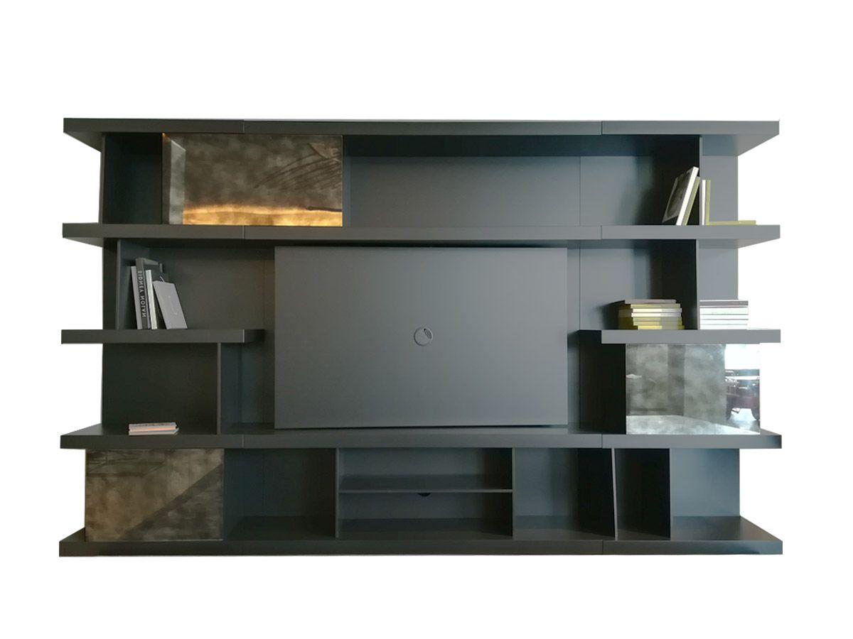 Natuzzi Italia Kubika Bookshelf With Tv Stand Regarding Penelope Dove Grey Tv Stands (View 10 of 20)