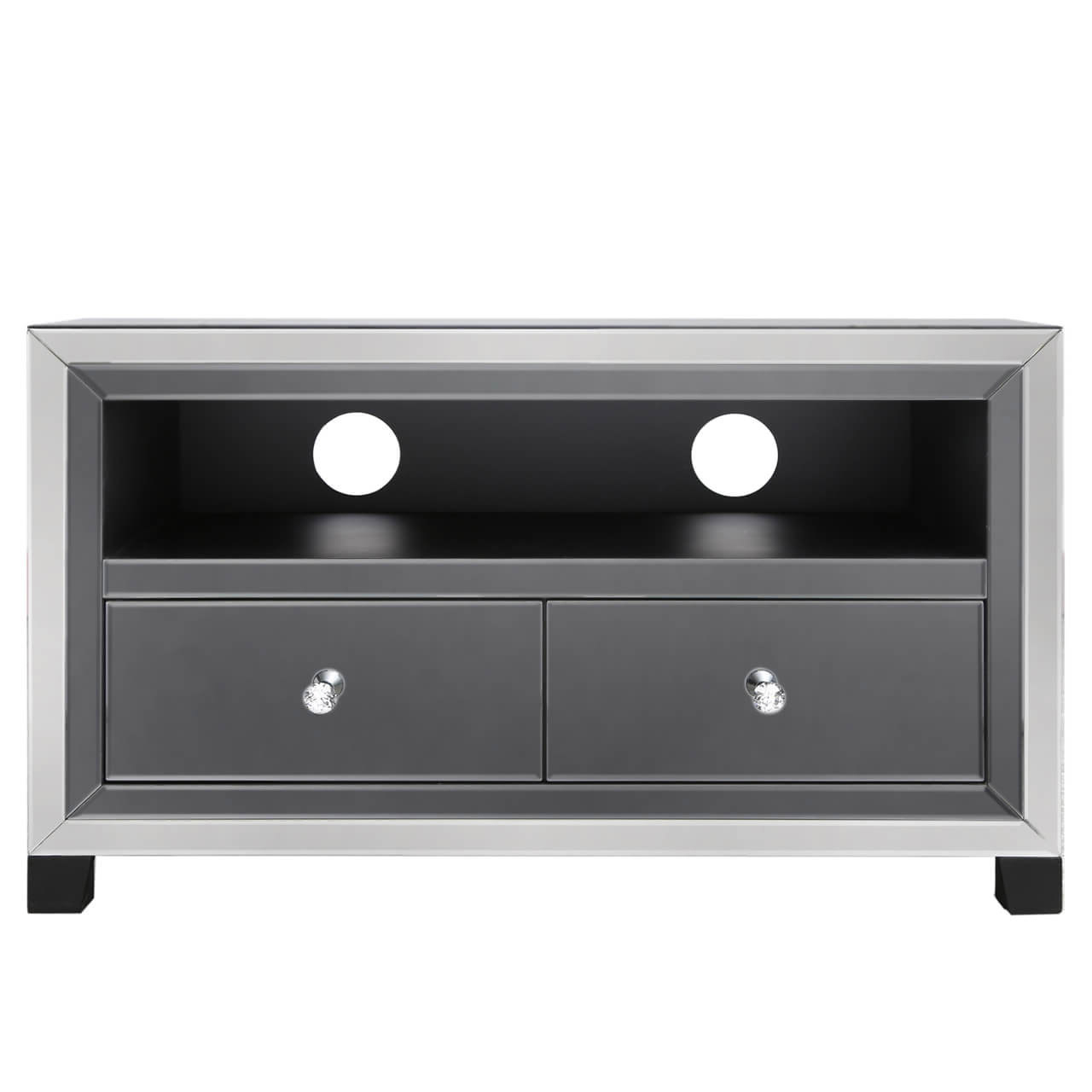 Nero Smoked Mirror Tv Stand Throughout Fitzgerald Mirrored Tv Stands (View 15 of 20)