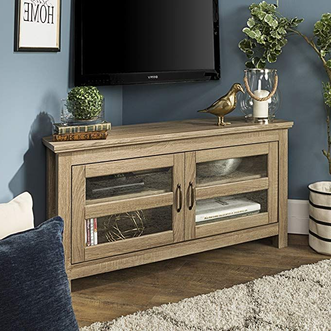 New 44 Inch Wide Corner Television Stand Driftwood Finish Pertaining To Orsen Wide Tv Stands (View 13 of 20)