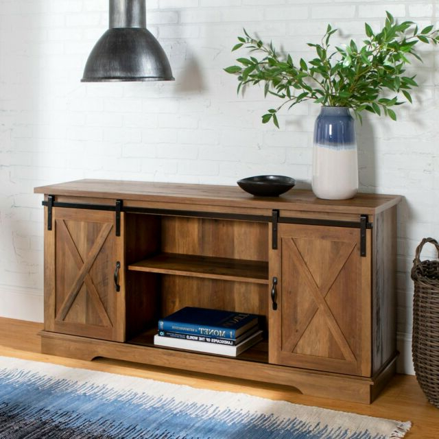 """New 58 Inch Sliding Barn Door Tv Stand Rustic Oak 