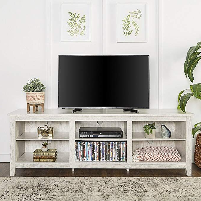 New 70 Inch Wide Television Stand In White Wash Finish For Woven Paths Open Storage Tv Stands With Multiple Finishes (View 4 of 20)