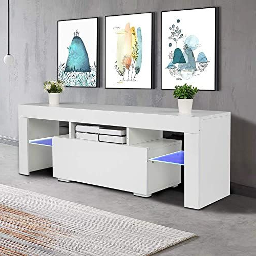 New Bonnlo Modern White Tv Stand Led Light 55 Inch Tv Led Within Milano White Tv Stands With Led Lights (View 10 of 20)