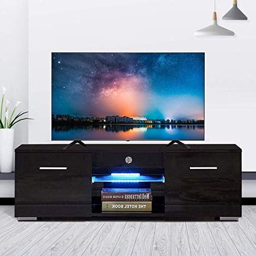 New Mecor Modern Black Tv Stand For 50 In Tv High Gloss Tv Within Ktaxon Modern High Gloss Tv Stands With Led Drawer And Shelves (View 11 of 20)