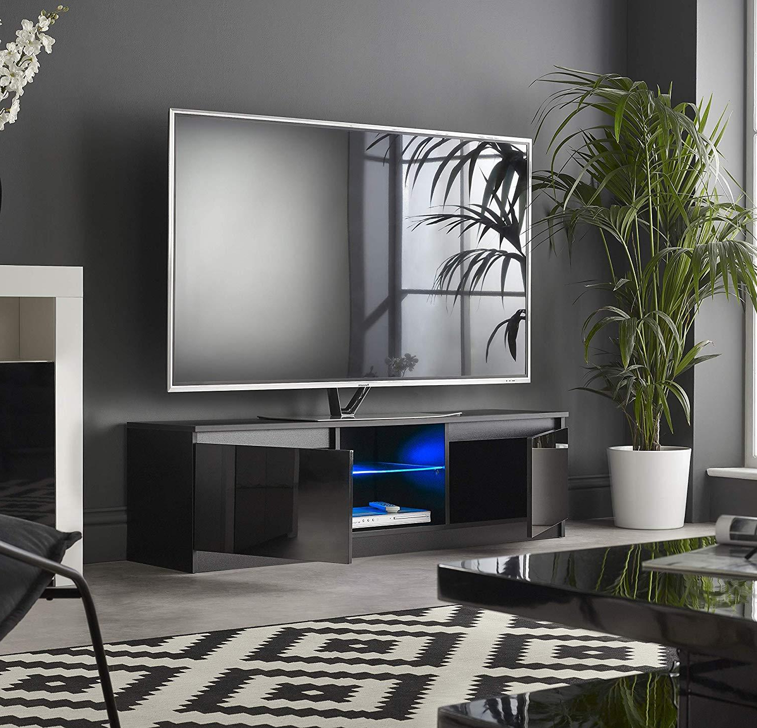 New Modern Tv Unit Cabinet Stand Sideboard 120 Cm – White Intended For Hannu Tv Media Unit White Stands (View 9 of 20)