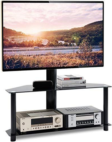 """New Tavr Swivel Floor Tv Stand With Height Adjustable With Regard To Whalen Furniture Black Tv Stands For 65"""" Flat Panel Tvs With Tempered Glass Shelves (View 9 of 20)"""