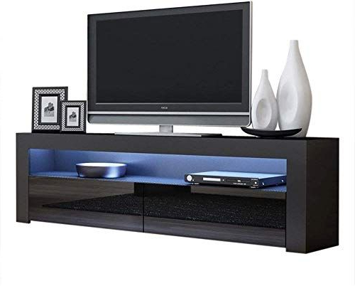 New Tv Console Milano Classic Black – Tv Stand Up To 70 Regarding Milano White Tv Stands With Led Lights (View 11 of 20)
