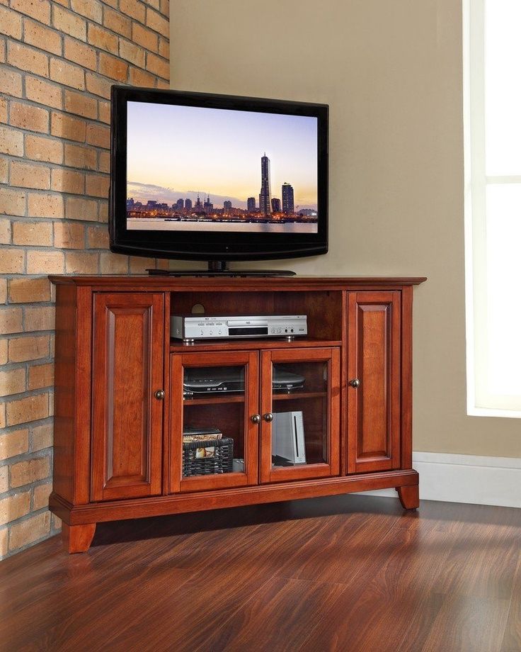 """Newport 48"""" Corner Tv Stand  Flat Screen Tv Wall Mounts For Space Saving Black Tall Tv Stands With Glass Base (View 2 of 20)"""