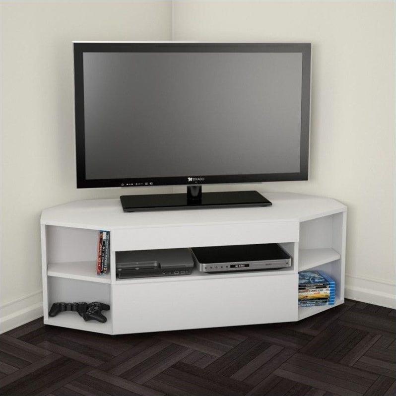 Nexera 226103 Blvd Corner Tv Stand 48 Inch White – 226103 With Regard To Priya Corner Tv Stands (View 11 of 20)