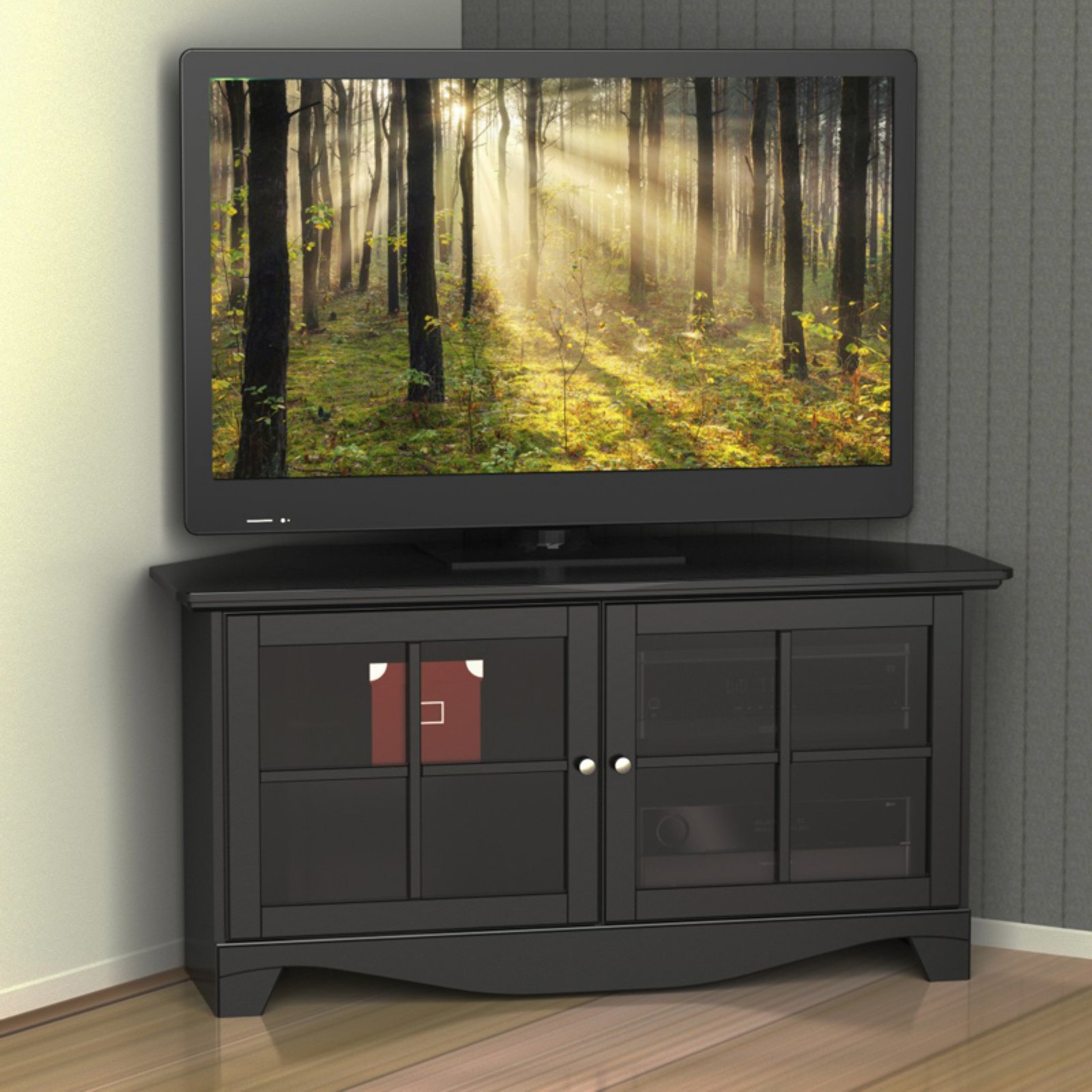 Nexera Pinnacle Black 2 Door Corner Tv Stand For Tvs Up To Intended For Edgeware Black Tv Stands (View 5 of 20)